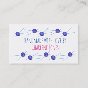Knitting business cards business card printing zazzle uk blue yarn and knitting needles customisable business card colourmoves