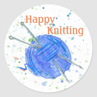 Blue Yarn Happy Knitting Round Sticker