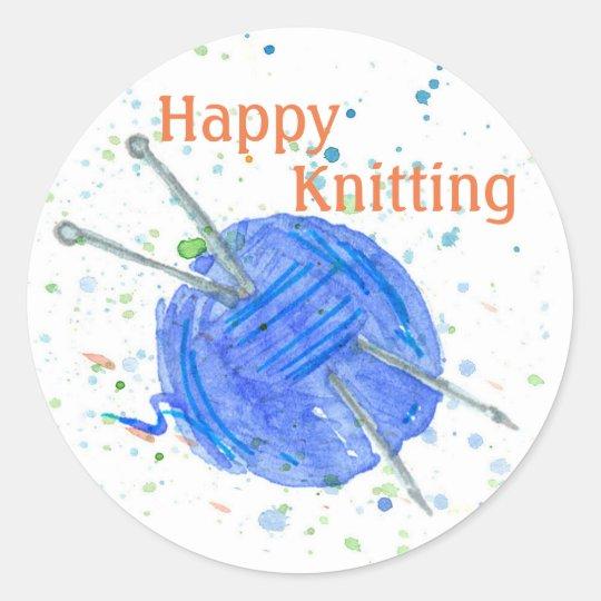 Blue Yarn Happy Knitting Round Sticker