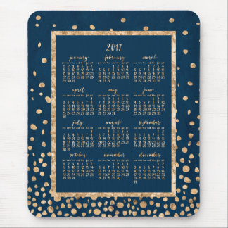 Blue Yearly Calendar 2017 Mouse Pads Gold Confetti