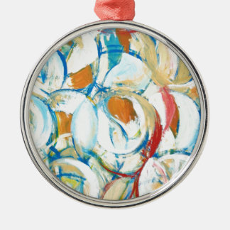 Blue Yellow Abstract Circle Dance Christmas Ornament