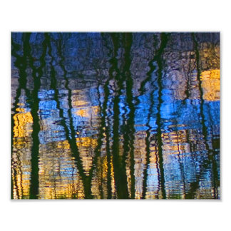 Blue & Yellow Abstract Reflections Patterned Photo Print