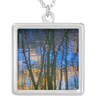 Blue & Yellow Abstract Reflections Patterned Silver Plated Necklace