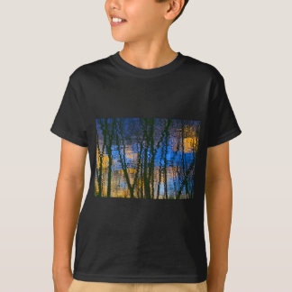 Blue & Yellow Abstract Reflections Patterned T-Shirt