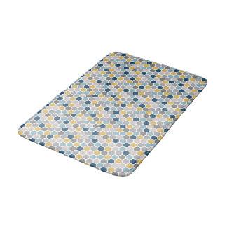 Blue, yellow and gray bathmat