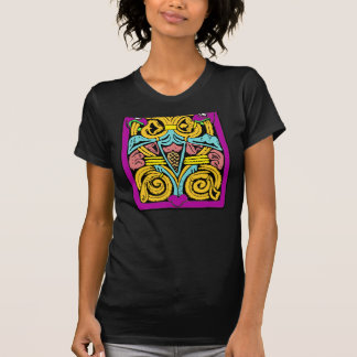 blue yellow and pink aztec design tee shirt