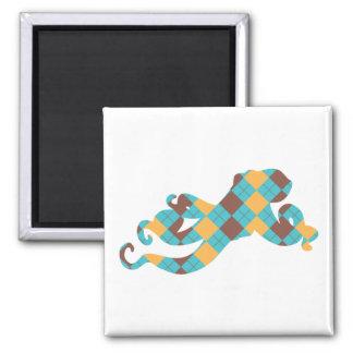 Blue & Yellow Argyle Octopus Magnet