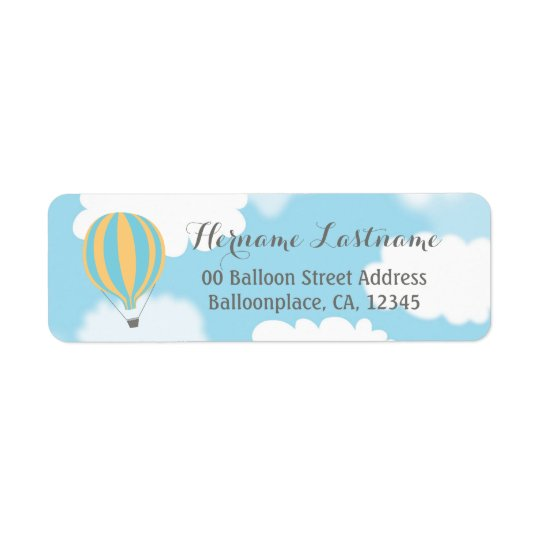 Blue Yellow Balloon Sky Return Address Labels
