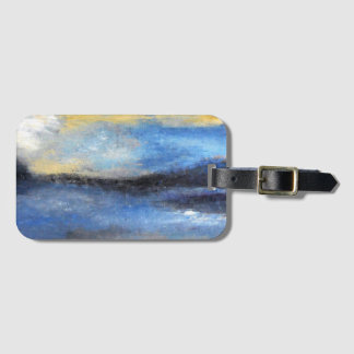 Blue Yellow Beach Abstract Luggage Tag