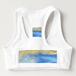 Blue Yellow Beach Abstract Sports Bra