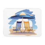 Blue & Yellow Beach Chairs & Umbrella Magnets
