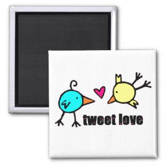 "Blue & Yellow Birds ""Tweet Love"" WHITE Magnets"