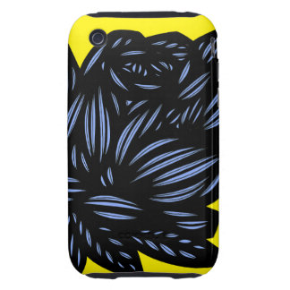 Blue, Yellow, Black, Flowers, Floral Tough iPhone 3 Case