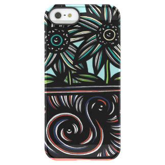 Blue, Yellow, Black, Flowers, Floral Uncommon Permafrost® Deflector iPhone 5 Case