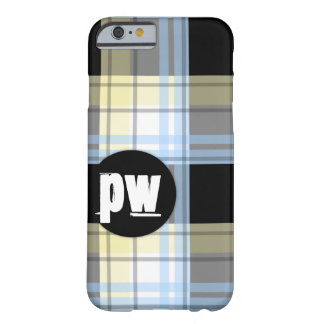 Blue Yellow Black Plaid Monogram iPhone 6 Case Barely There iPhone 6 Case