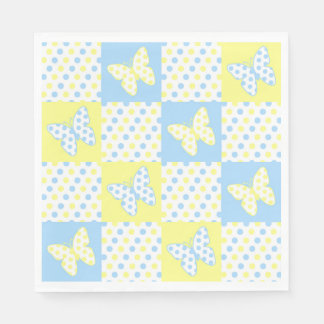 Blue Yellow Butterfly Polka Dot Patchwork Girl Disposable Serviettes