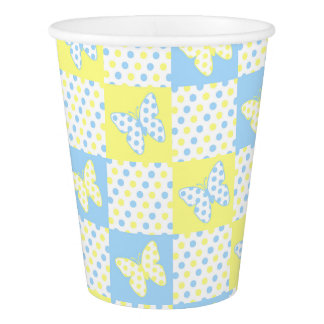 Blue Yellow Butterfly Polka Dot Patchwork Girl Paper Cup