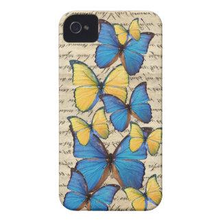 Blue & yellow butterrflies iPhone 4 Case-Mate cases