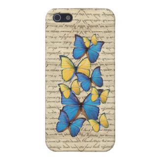 Blue & yellow butterrflies iPhone 5 covers