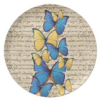 Blue & yellow butterrflies plate
