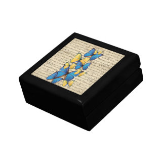 Blue & yellow butterrflies small square gift box