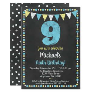 Blue Yellow Chalkboard 9th Birthday Invitation