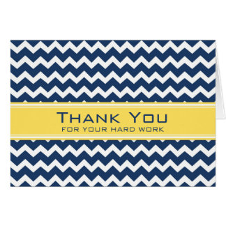 Blue Yellow Chevron Employee Anniversary Card