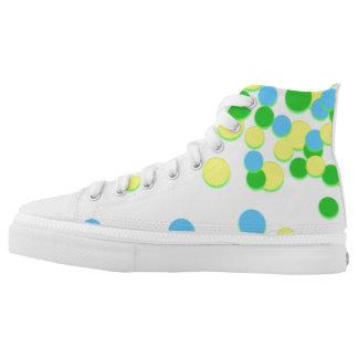 Blue Yellow Circle Dot Spot Zipz High Top Shoes Printed Shoes