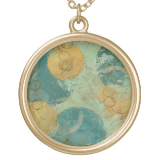 Blue & Yellow Circles Round Pendant Necklace