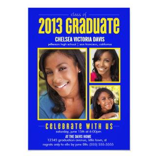 Blue Yellow Class of 2013 Graduate Photo Invite