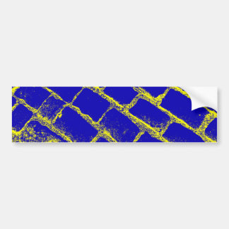 Blue Yellow Cobbles Reversed Bumper Sticker