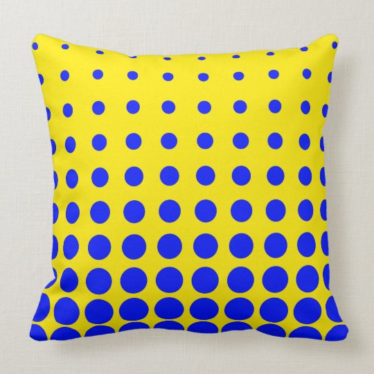 Blue & Yellow Colourful Vector abstract dot Cushion