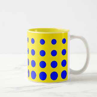 Blue & Yellow Colourful Vector abstract dot Two-Tone Coffee Mug