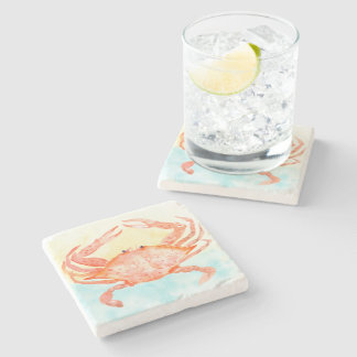 Blue Yellow Crab Watercolor Stone Coaster