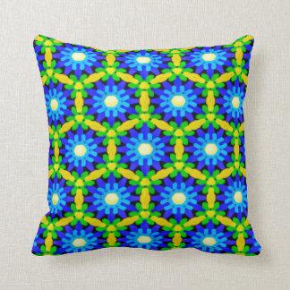 Blue & Yellow Crochet Look Flower Design Cushion