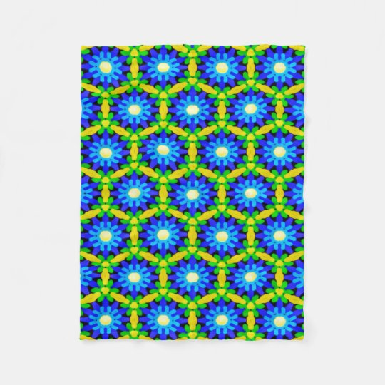 Blue & Yellow Crochet Look Flower Design Fleece
