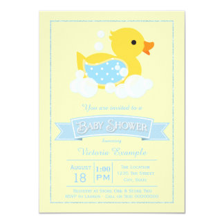 Blue Yellow Cute Rubber Duck Baby Shower 11 Cm X 16 Cm Invitation Card