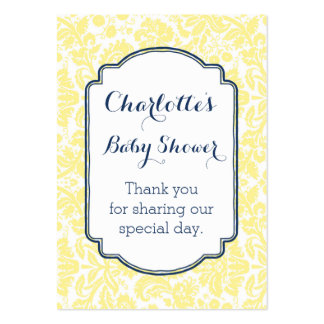 Blue Yellow Damask Vintage Baby Shower Favor Tags Pack Of Chubby Business Cards