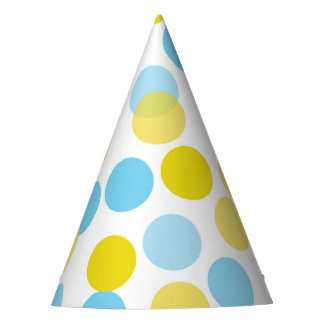 Blue & Yellow Festive Polka Dots Confetti Party Hat