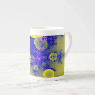 Blue & yellow fractal tea cup