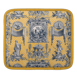 Blue & Yellow French Neoclassical Toile iPad Sleeve