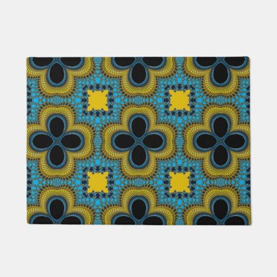 Blue Yellow Geometric Floral Medallion Door Mat