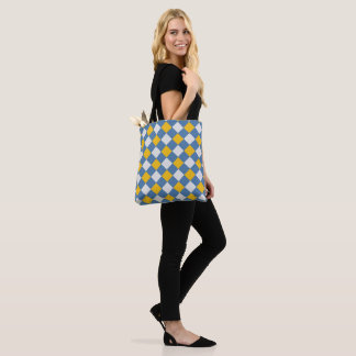 Blue, Yellow Gingham Pattern Tote Bag