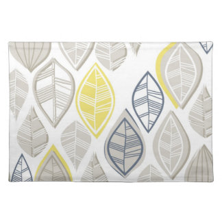 blue yellow gray leaves on white placemat