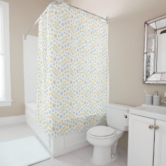 Blue Yellow & Gray Modern Floral Shower Curtain