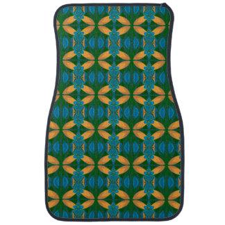 Blue Yellow Green Abstract Pattern Car Mat