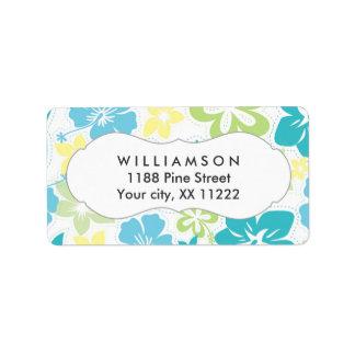 blue yellow green hibiscus hawaiian tropical favor label
