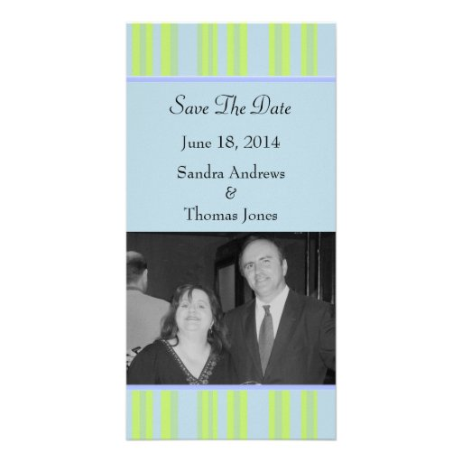 blue yellow green striped wedding photo card
