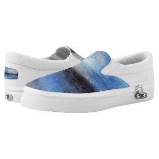 Blue Yellow Grey Beach Abstract Slip on Sneaker