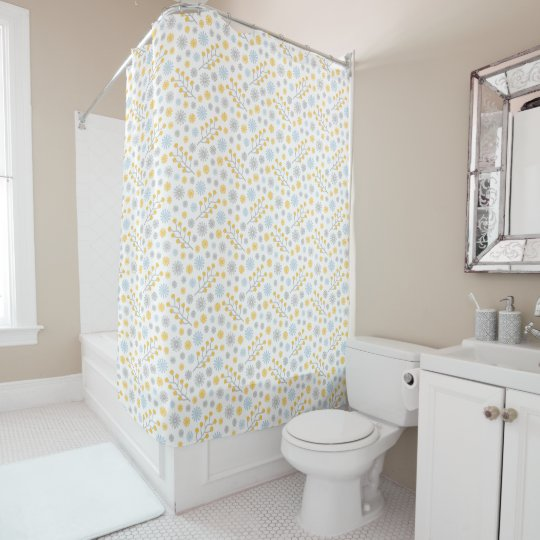 Blue Yellow & Grey Modern Floral Shower Curtain